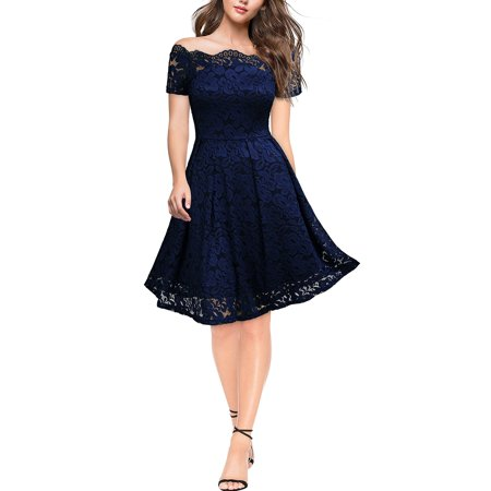 Miusol Women's Short Formal Lace Swing Dresse with 1/4 Sleeves, Vintage Off Shoulder Cocktail A Line Dresses for Women, Size L, Navy Blue, MIU#3733WM