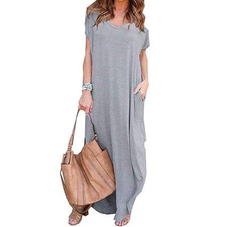 Multitrust Women Boho Maxi Long Dress Summer Evening Party Beach Long Sundress Plus Size