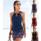 New Women Summer Sleeveless Loose Beach Dress Splice Print Solid Casual Sundress