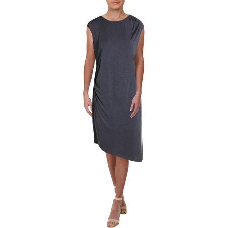 Nic + Zoe Womens Cloud Nine Asymmetric Daytime Midi Dress Gray XS