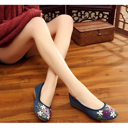 NK Fashion Women Ballet Flats Floral Embroidered Platform Shoe Slip On Casual Driving Loafers(4-10 Size)