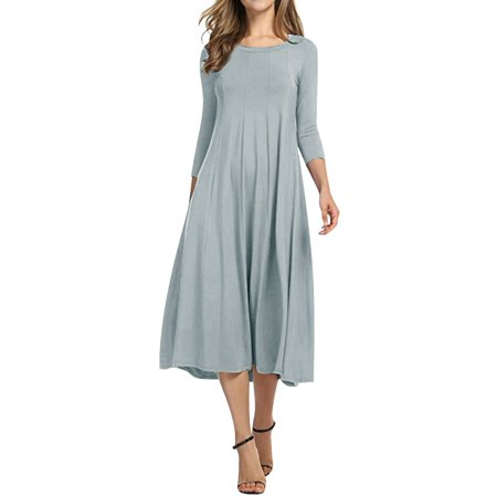 Nlife Women 3/4 Sleeve Round Neck Swing Midi Dress