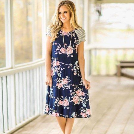 Nlife Women Striped Sleeve Floral Print A-line T-shirt Dress