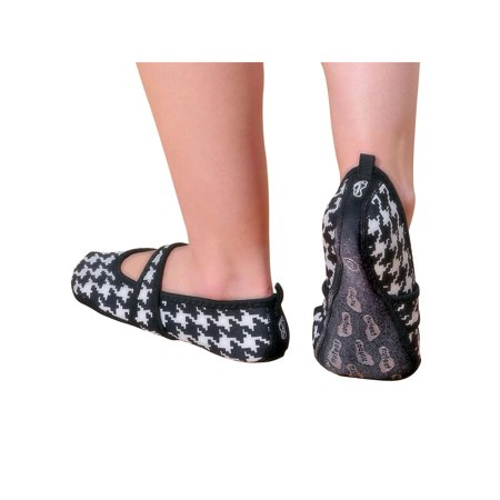 Nufoot Betsy Lou Indoor Womens Shoes Slipper, Black with White Hounds Tooth, X-Large