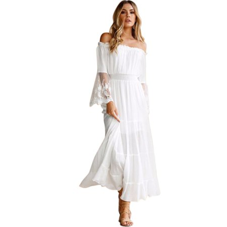 Off Shoulder Dress White Lace Patchwork for Women Maxi Sexy Cocktail Party Wedding Dress Long Sleeve