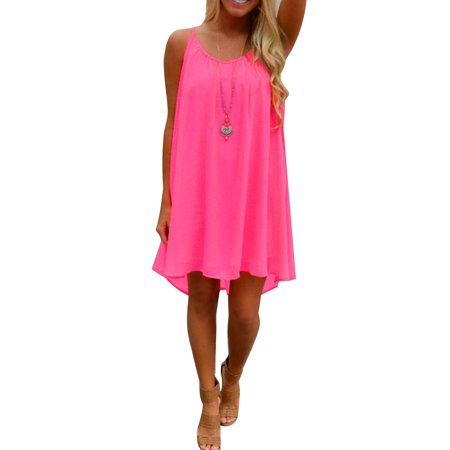 Plus Size Ladies Casual Summer Short Dresses for Women Sleeveless Strap Loose Asymmetrical Hem Mini Dress