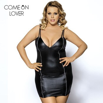 Plus size leather dress V neck robe femme fashion women clothes black sexy dress club wear hot sale black Womens Dress R7858