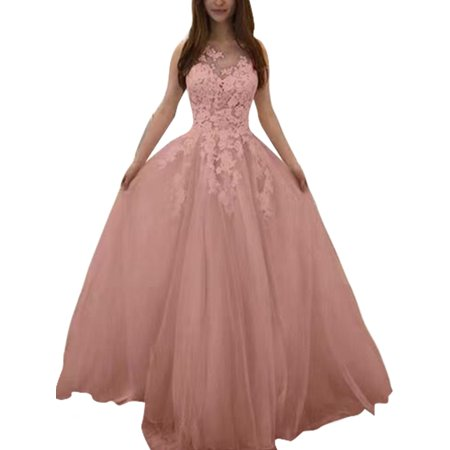 Plus Size Wedding Dress for Women Lace Crochet Formal Bridesmaid Dress Sleeveless V Neck Prom Gown Long Maxi Dress Party Cocktail Pink S = US 4-6