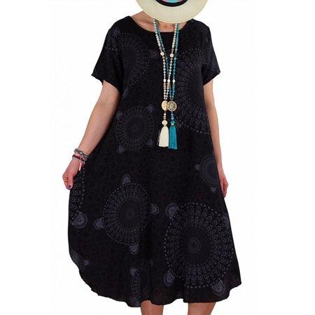 Plus Size Women Short Sleeve Floral Mini Dress