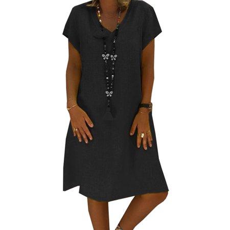 Plus Size Women Short Sleeve Loose Summer V Neck Midi Dress