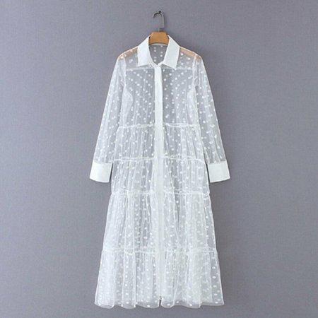 Pudcoco Women Mesh Sheer Polka Dot Lace V Neck Maxi Dress See-through Clubwear