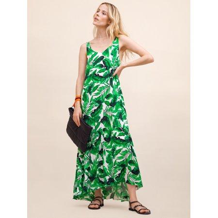 Scoop Women's High Low Flounce Hem Printed Maxi Dress