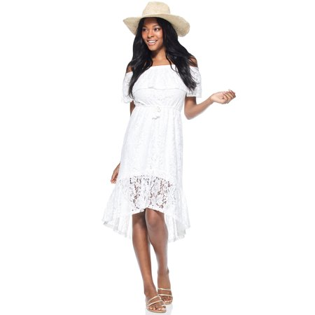 Scoop Women's Off-The-Shoulder High Low Lace Dress