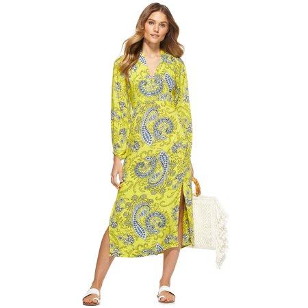 Scoop Women's Printed Midi Dress with Side Slits