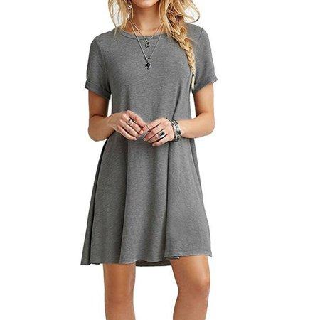 Summer Fashion Round Neck Basic Short Sleeve T-Shirt Dress Women Casual Loose A-line Ruffles Beach Dress