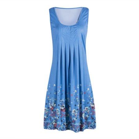 Summer Women Sleeveless Floral Midi Length Sundress Evening Party Beach Dress