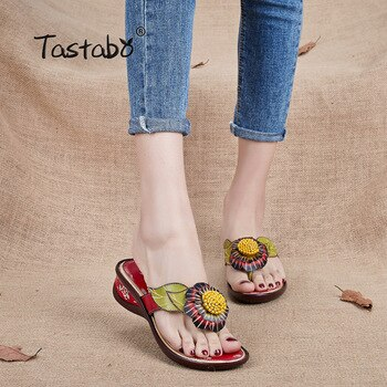 Tastabo Brand Fashion Flip Flops Low Wedges Handmade Flower Slides Genuine Leather Slippers For Women Outdoor Slippers Shoes
