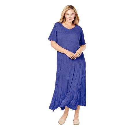 Woman Within Women's Plus Size Petite Crinkle Dress