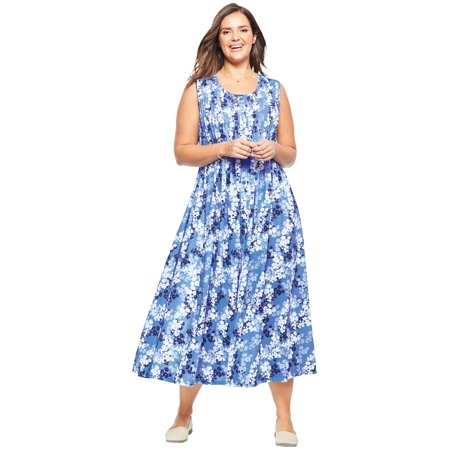 Woman Within Women's Plus Size Pintucked Floral Sleeveless Dress