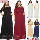 Women Cocktail Party Wedding Evening Lace Long Maxi Dresses With Pockets 14W-26W
