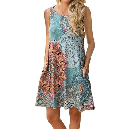 Women Fashion Sleeveless O-neck Print Casual Loose Mini Dress Summer Party Dress