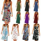 Women Floral A Line Midi Dress Sleeveless Casual Summer Tank Sundress Plus Size