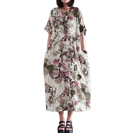 Women O Neck Short Sleeve Loose Floral Dresses