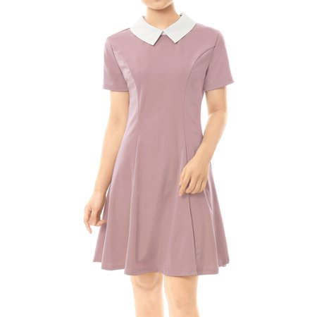 Women Peter Pan Collar Above Knee Fit and Flare Dress Skirt Pink XL (US 18)