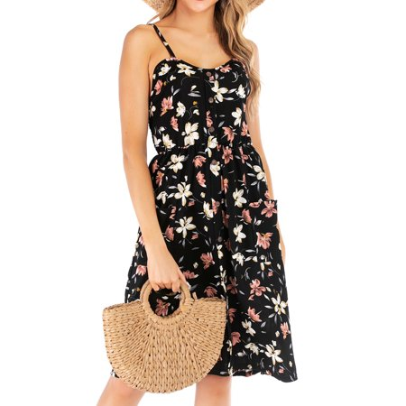 Women Printed V Neck Slings Buttons Midi Dress with Pockets