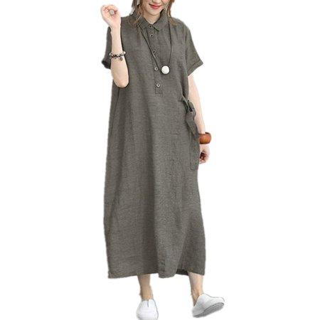Women Short Sleeve Turn Down Collar Dress Long Shirt Dress