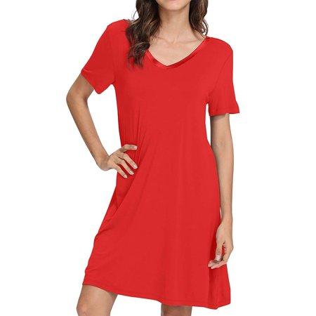 Women Short Sleeve V Neck Solid Color Mini Dress