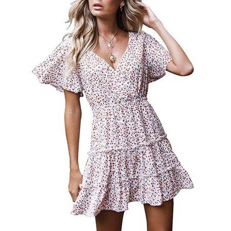 Women Short Sleeve Wrap Boho Floral Mini Dress Summer Sundress Holiday Dress