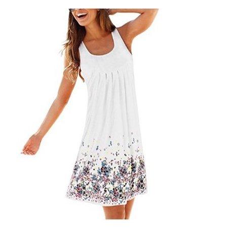 Women Sleeveless Floral Print Loose Casual Beach Summer Dress