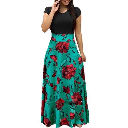 Women Summer Autumn FloralPrint Boho Skirt Dress Short Sleeve Party Bodycon Long Maxi Dress Beach Sundress