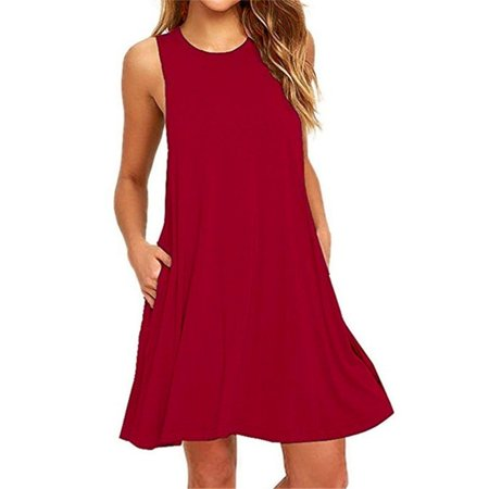 Women Summer Casual Sleeveless Cotton Polyester Dresses Pure Color Pleated Loose Tank Tops Dress with Pocket