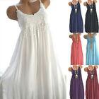 Women Summer Crew Neck Sleeveless Tank Dress Lace Casual Mini Solid Sundress