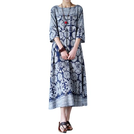 Womens 3/4 Sleeve Floral Printed Tunic Baggy Long Maxi Dresses