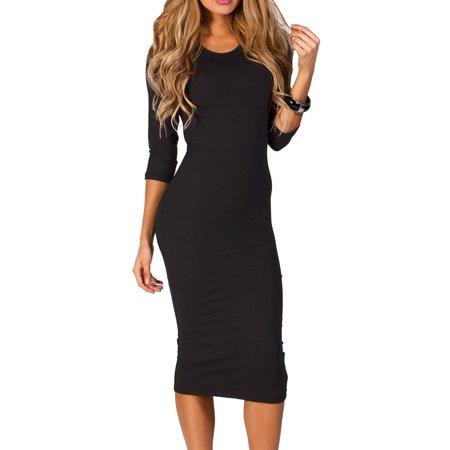 Women's 3/4 Sleeve Midi Bodycon Dress (Black, Medium)