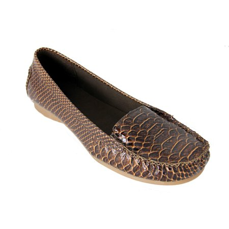 Women's Brown Exotic Animal Print Snake Skin Comfort Loafer Shoes - Size 6