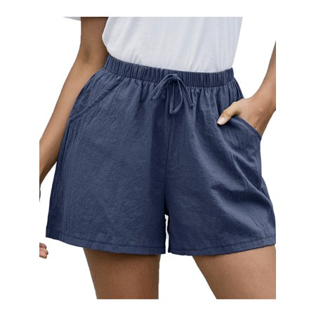 Womens Cotton Linen Plain Elastic Waisted Summer Shorts Lace Up Loose Hot Pants