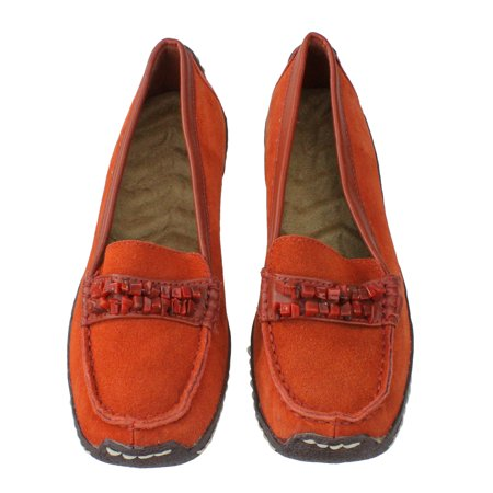Women's Orange Suede Cushion Wedge Shoes with Stone Strap Accent - Size 6
