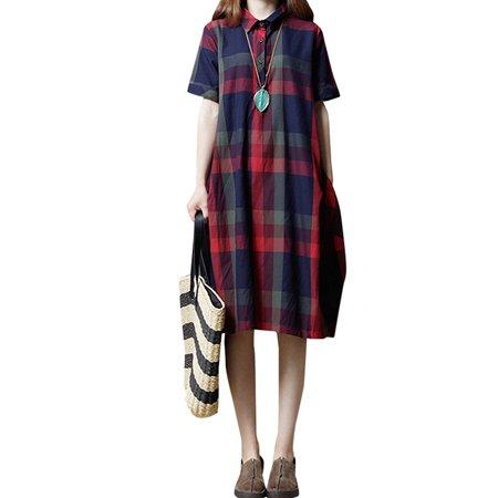 Womens Plaid Button Turn-down Collar Side Pockets Shirt Dresses