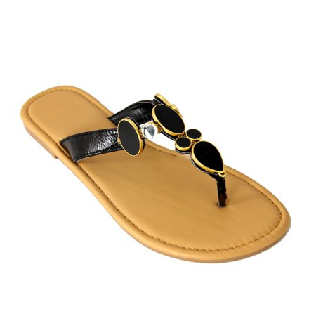 Women's Stylish Black Gem and Rhinestone Flip-Flop Thong Shoes - Size 5-6