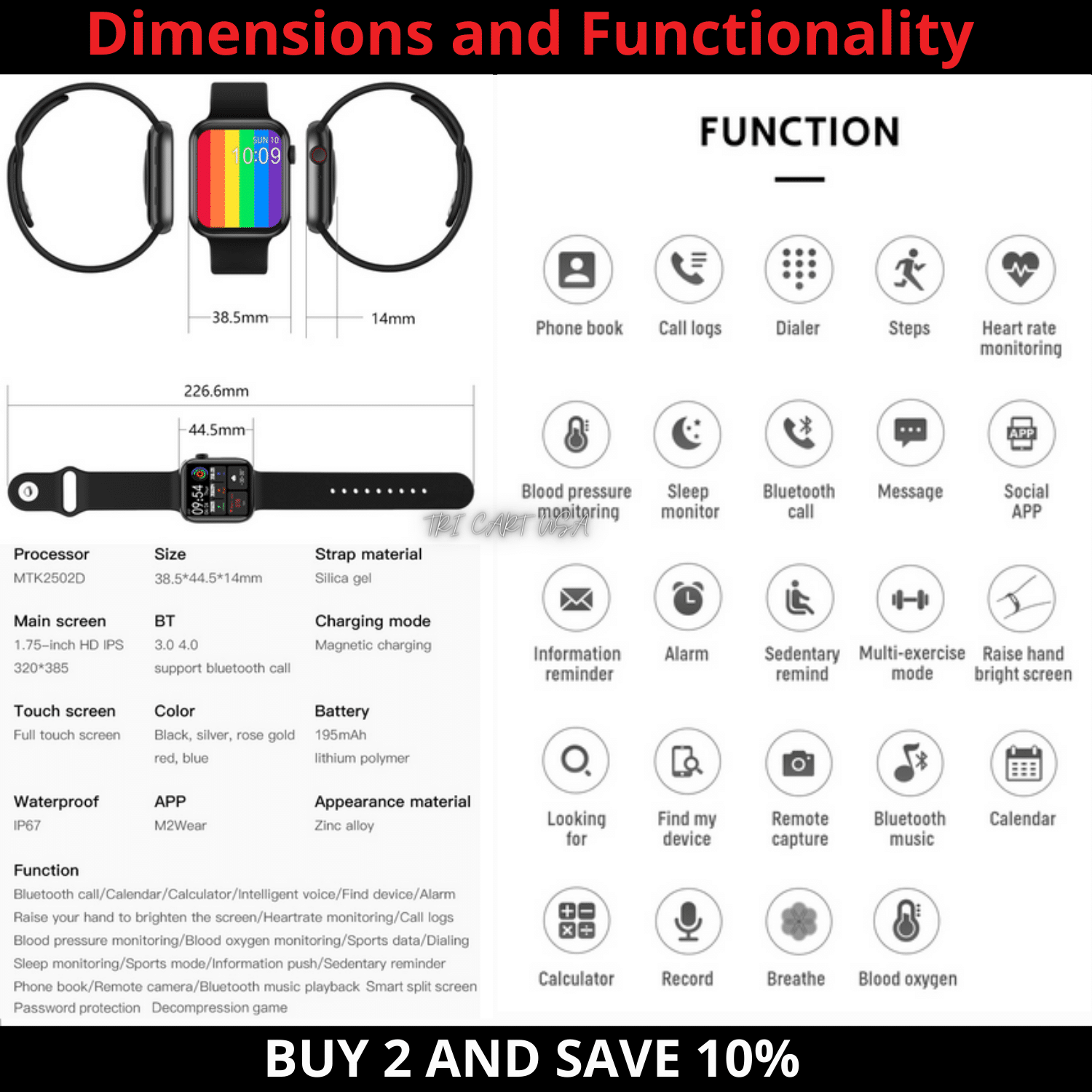 2021 Smart Watch for iPhone iOS Android Phone Bluetooth Waterproof Fitness Watch