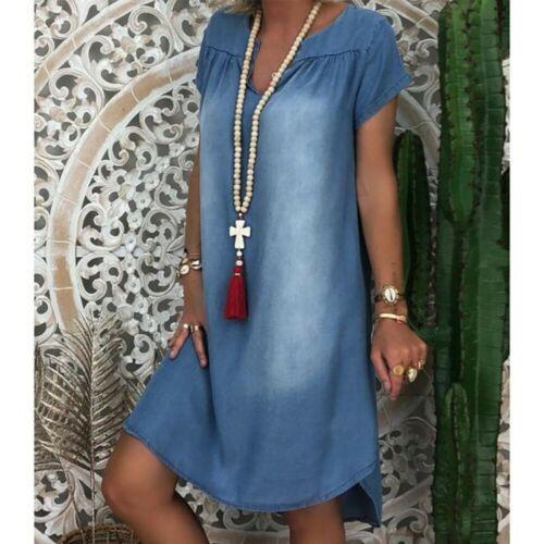 Plus Size Ladies Short Sleeve Summer Loose Denim Midi Dress Women Jeans Dresses