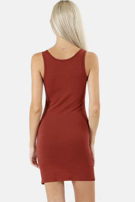Women's Basic Sleeveless Tank Dress Soft Stretch Cotton Casual Mini Bodycon Knit