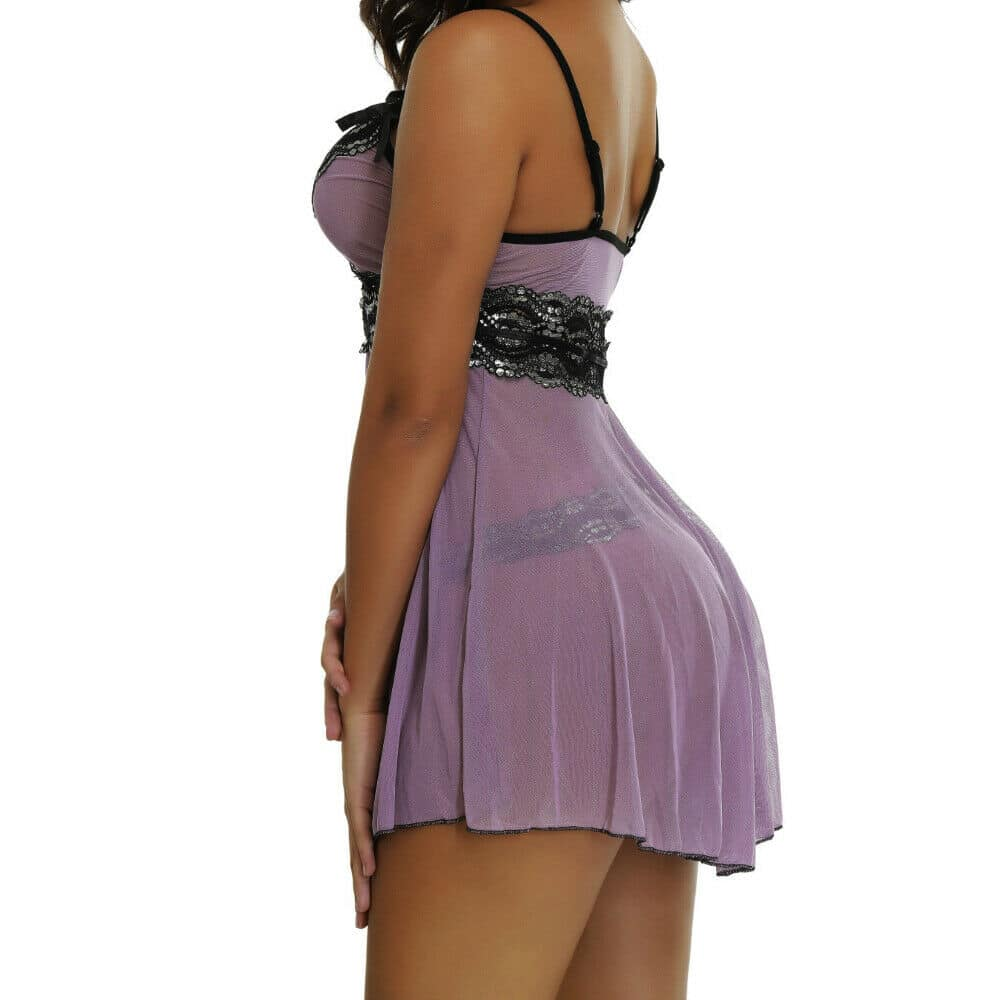 Plus Size Sexy-Womens-Lace-Lingerie-Dress-G-string-Babydoll-Underwear-Sleepwear