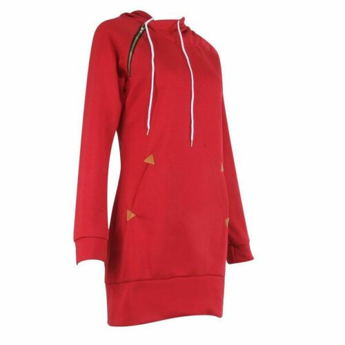 Women Casual Dress Long Sleeve Hoodie Hooded Jumper Pullover Sweater Tops Autumn