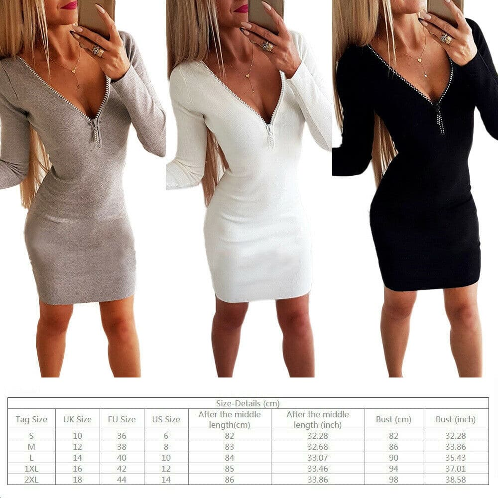 Women's Bodycon Knit Sweater Dress Long Sleeve One Piece V Slim Mini Zipper