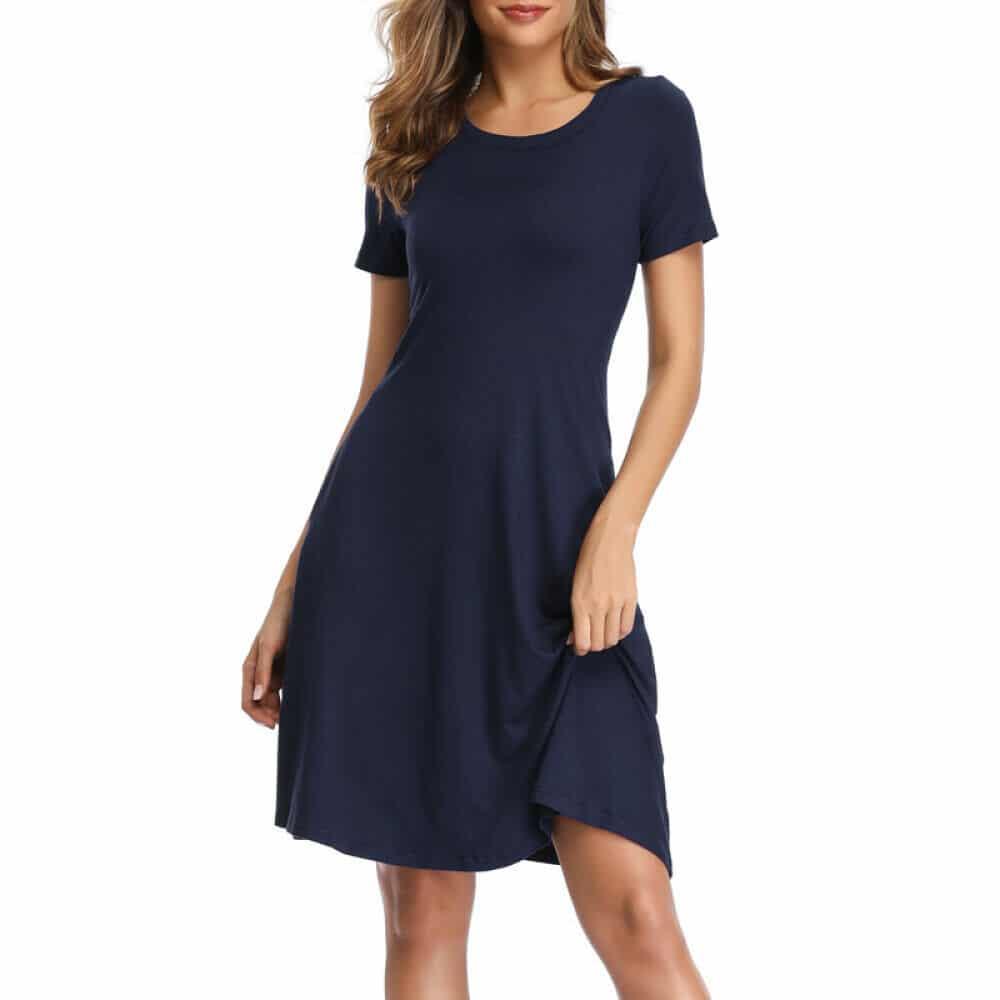 Women's Lady Summer Short Sleeve Casual Loose Sundress Tops Mini T-shirt Dress